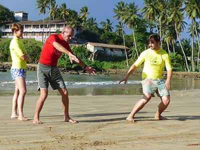 surfing training on the beach