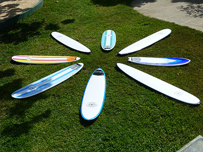 our range of custom made surf boards