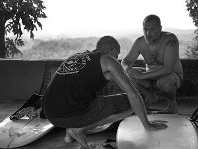 director tim jones with surf board